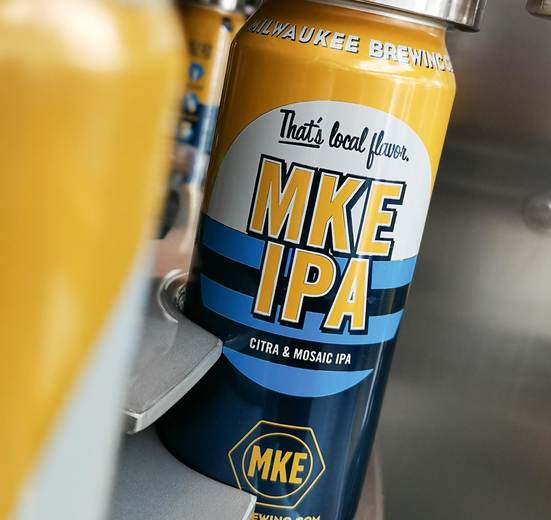MKE brews its signature IPA using five different types of hop, among them Citra and Mosaic, which lend the beer an aroma of citrus and tropical fruit.