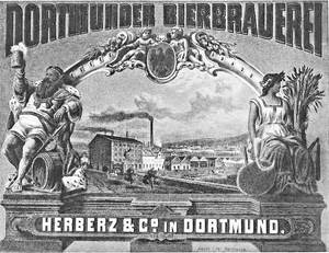 An advertising poster from the early years of the Dortmunder Actien-Brauerei, established in 1868 – then still active under its original name.