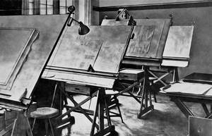 In-house production now called for its own design engineering department: technical drawing boards (c. 1916).