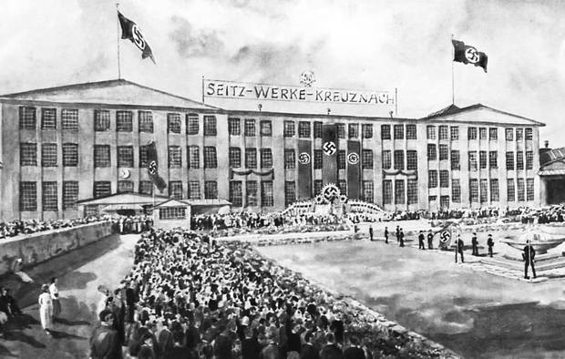 A contemporary watercolor from 1938 shows the Seitz-Werke in Bad Kreuznach on the occasion of its 50th anniversary.