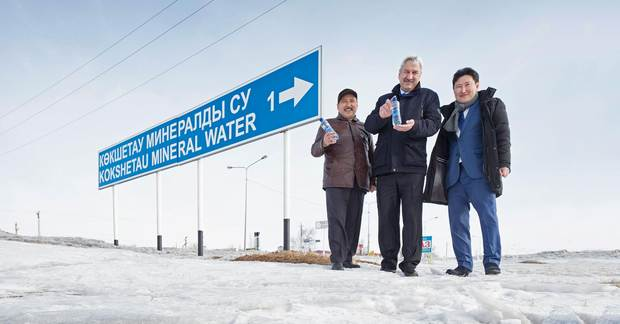 Kokshetauminwody production manager Nuraly Mirzaliyev, plant manager Stanislav Maksimets and KHS representative Murat Nurmukhambetov (from left to right).