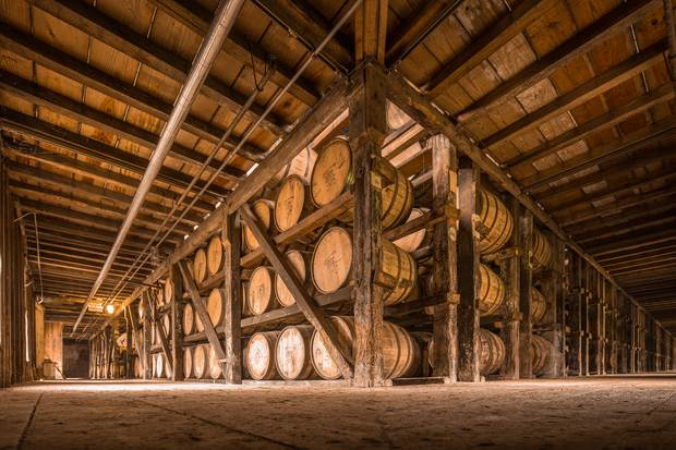 Jim Beam is traditionally stored in wooden casks.